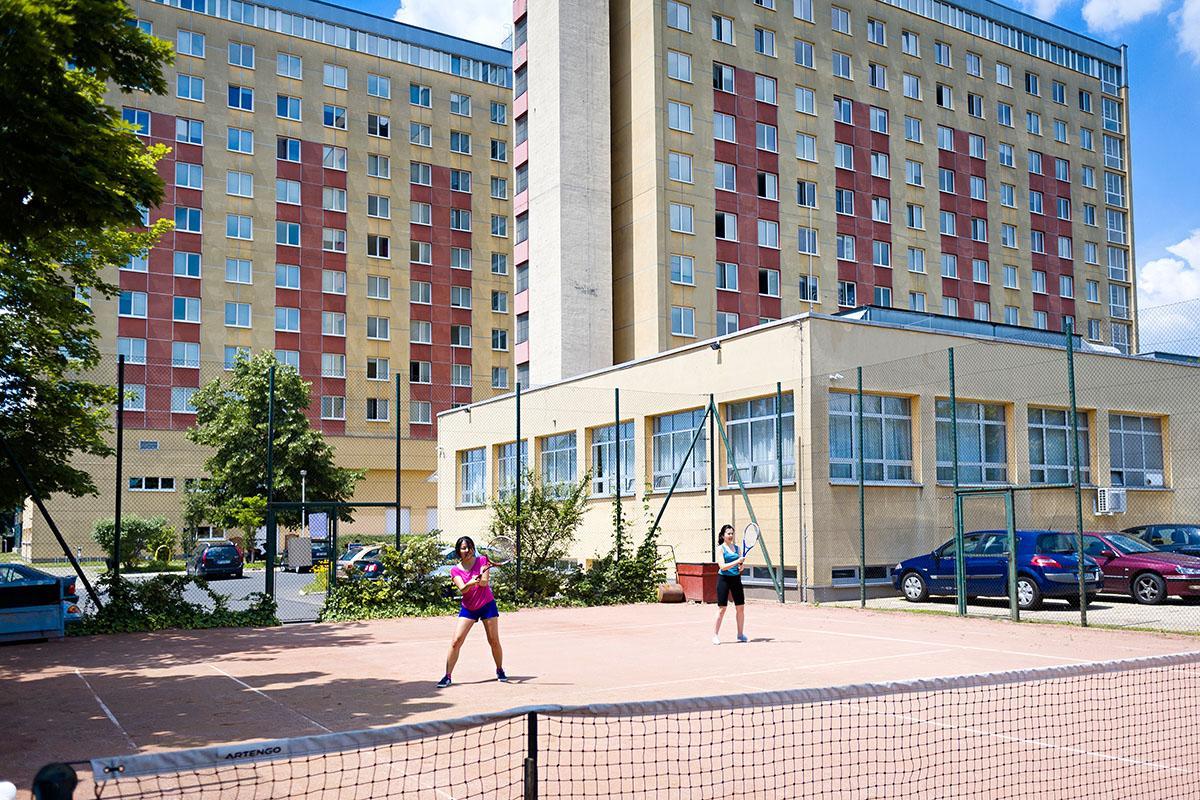 Dormitory tennis court